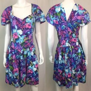 Vintage Hawaiian Floral Flare 80s 90s Roaman Dress